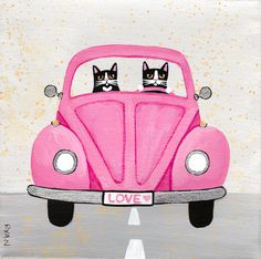 The Pink Love Bug  Original Cat Folk Art by KilkennycatArt on Etsy