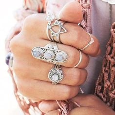 silver bohemian rings