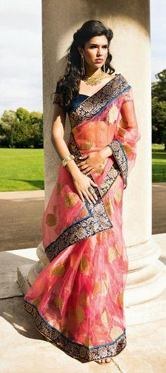 Party Wear Sarees, Tissue, Patch, Lace, Pink and Majenta Color Family Pakistani Outfits, Indian Outfits, Banarsi Saree, Saree Dress, Sari Blouse, Desi Clothes, Indian Couture, Indian Ethnic Wear, Party Wear Sarees