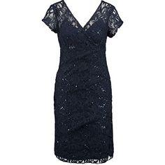 Navy Sparkle Lace Shutter Pleat Dress