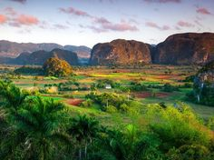 """Located in the Pinar del Rio province in the Sierra de los Organos (""""Organs Mountain Range""""), Valle de Vinales has become a popular tourist destination, thanks to its stunning scenery, vast limestone rock faces for climbing and many hiking trails. Considered to be one of the lushest parts of the island, Valle de Vinales houses some of Cuba's — and the world's — best tobacco plantations."""
