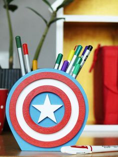 Items similar to Captain America Super Hero Desk Organizer Gift Captain America Pen Holder Marvel Fan Gift Comics Organizer Gift Wood Gift for boy on Etsy Captain America, Avengers Art, Wood Gifts, Desk Organization, Pen Holders, Gifts For Boys, Organizer, Cool Diy, Diy Art