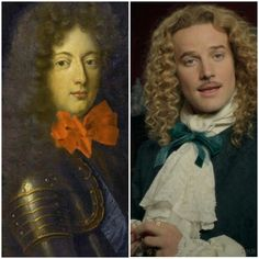 The real Chevalier de Lorraine and Evan Williams as Chevalier de Lorraine Evan Williams, Maisie Williams, Beautiful Boys, Pretty Boys, Versailles Tv Series, George Blagden, French Royalty, Auradon, French History