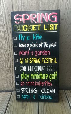 Spring decor bucket list sign