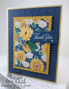 Sunflower Thank You Card - The Stampin' Schach Cricut Birthday Cards, Bday Cards, Sunflower Cards, Stamping Up Cards, Card Sketches, Thank You Cards, Gift Cards, Paper Cards, Creative Cards