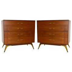 Pair of Mid-Century Chest of Drawers | From a unique collection of antique and modern commodes and chests of drawers at https://www.1stdibs.com/furniture/storage-case-pieces/commodes-chests-of-drawers/