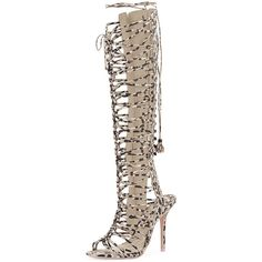 Sophia Webster Clementine Knee-High Gladiator Sandal ($1,135) ❤ liked on Polyvore featuring shoes, sandals, nude, nude sandals, high heel shoes, gladiator sandals, greek leather sandals and lace up sandals