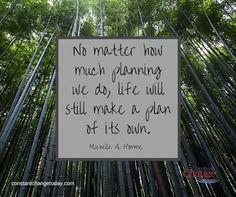 Por mais planos que façamos para a vida, assim mesmo a Vida continua a fazer planos para nós...