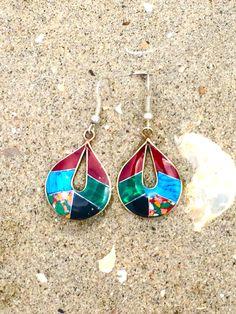 Beautiful handmade Fair Trade Teardrop Mosaic Earrings