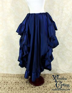 "Renaissance Steampunk Circle Ruffle Skirt -- Blueberry Iridescent Taffeta -- Fits up to 38"" Waist, 39"" Long -- Ready to Ship by VeneficaCorsetry on Etsy https://www.etsy.com/listing/463130297/renaissance-steampunk-circle-ruffle"