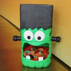 Get even more excited about Halloween with this fun Frankenstein candy holder!