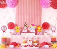 Vintage Carnival Circus Pink Brown Birthday Party por venspaperie