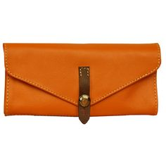 Handmade Women's leather Wallet in orange ,named Aris MADE TO ORDER. $92.00, via Etsy.