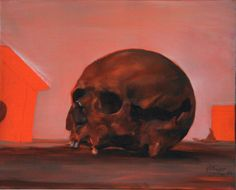 """""""crâne et objet"""" huile sur toile 41x33 jb©"""