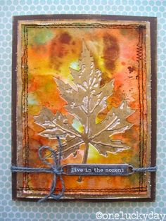 Layered Leaf Card by TH Media Team Member Paula Cheney - Scrapbook.com - Beautiful fall colors!