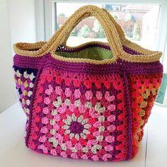 Chunky retro granny stash bag: free pattern