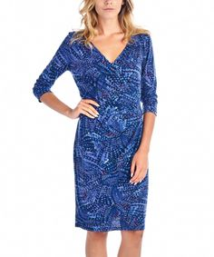 Take a look at this Gray & Blue Abstract Surplice Dress today!