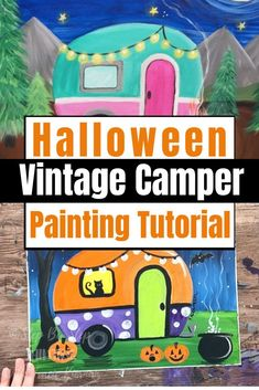 Here is a fun Halloween Twist of a Vintage Camper! You may recognize this from my Camper Painting Tutorial I did back in 2018.This tutorial will show you how I painted a Halloween vintage camper painting! Painting For Kids, Diy Painting, Art For Kids, Halloween Scene, Halloween Crafts, Off White Paints, Paint Line, Art Activities For Kids, Acrylic Painting Tutorials