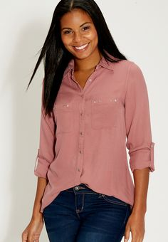 button down shirt with studded pockets - #maurices