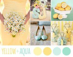 yellow + aqua wedding inspiration board