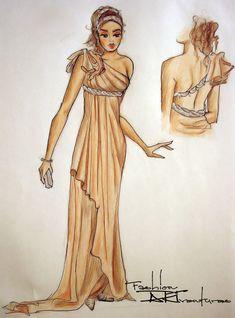 Silk Dress in Tan Greek Style: Advanced Fashion Drawing Tutorial