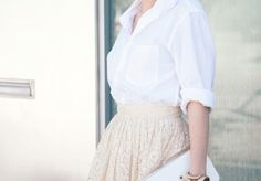 Love this! Collared shirt and high waisted skirt!