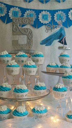 Cupcakes at a Frozen Birthday Party! See more party planning ideas at CatchMyParty.com!