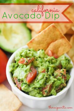 California Avocado Dip.  This dip is absolutely delicious and combines fresh ingredients to make it absolutely amazing.  Perfect for any party!