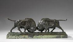 Franz Iffland. War tätig in Berlin. Stellte 1886 - 1915 aus. Sign. Zwei kämpfende Bisons. Bronze auf Marmorsockel. L 54 cm