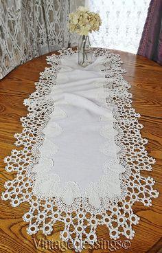 Superb Antique Fancy Victorian Crochet Lace & Linen Table Runner 61x25 Vintageblessings