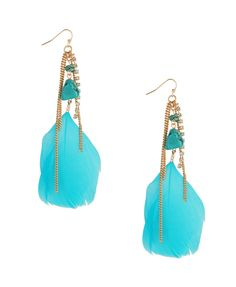 Boho Feather Earrings | Love the color.