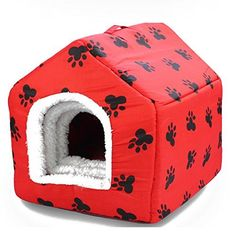 OCSOSO 2 in 1 Pet HouseSofa Pet Bed Red with paw print L ** Continue to the product at the image link.