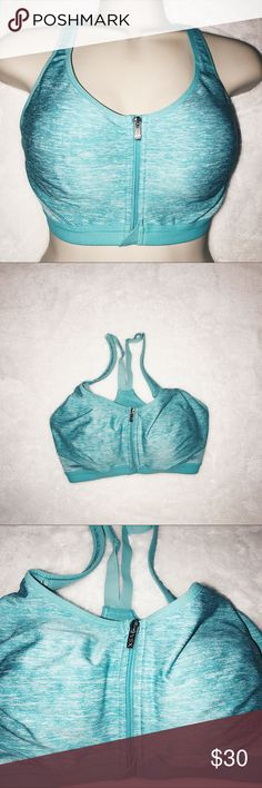 VSX Victoria's Secret Sports Bra | 34D Never worn VSX Victoria's Secret Sports Bra in 34D. No flaws. Zip up front. Pretty aqua blue/teal color. I wear a size 32B in normal push up bras and these also fit me comfortably. Has a lot of stretch in the band. Victoria's Secret Intimates & Sleepwear Bras