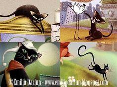 Felinos negros en ilustraciones de Emilio Darlun... ;) © Emilio Darlun - www.emiliodarlun.blogspot.com #felinos #gatos #gatosnegros #blackcat #gato #cat #cats #...  #Ilustracion #Illustration #IlustracionInfantil #infantil #children #childrenillustration #books #picturebooks #Dibujo #Emilio #EmilioDarlun #Darlun Ver más