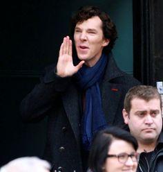 Sherlock 4/10/13 Benedict Cumberbatch shooting Sherlock series 3: The Empty Hearse