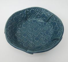 Small Teal Blue Green Deeply Textured Circle by madhatterceramics, $24.00