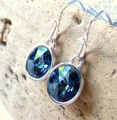 Blue Crystal Earrings Swarovski Circle Earrings by JBMDesigns