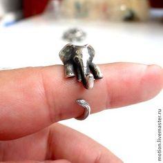 """Кольцо """"Серебряный Слоненок"""" Кольцо из Серебра 925 Пробы, Слон Удача Богатство. Handmade."""
