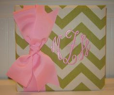 Lime Chevron Album with Large Pink Bow by doodlebugsga on Etsy, $27.50 Purchase at www.doodlebugsga.etsy.com