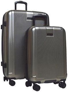 """Kenneth Cole New York """"Rush Hour"""" 2 Piece Set: 28"""" and 20"""" 8-Wheel Lightweight Expandable Upright Spinners (Silver)"""