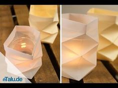 Teelichthalter aus Papier basteln – 4 Bastelanleitungen Simple tealights do not look very decorative. Just spice up the little candles with crafted tealight holders made of paper. Here are 4 ideas. Origami Diy, Origami Simple, Useful Origami, Origami Tutorial, Tutorial Eyebrow, Diy Paper, Paper Crafts, Papier Diy, Small Candles