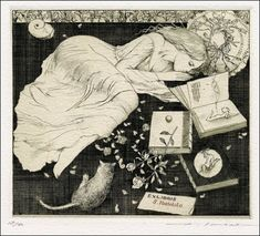 Ex-libris by Alphonse Inoue designed for Yoshiki Yamamoto. Alphonse Inoue is the pseudonym of a Japanese artist, known for his sensuous bookplates.