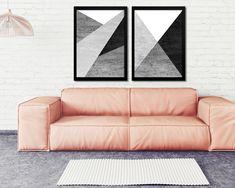 d50b5b606 Quadros Abstrato Geométrico Cinza Concreto Preto Branco Decoração Moderna  Ideias de Decoração ACOMPANHA  2 UNIDADES