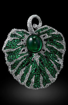 Emerald and White Diamond Brooch/Pendant Set - Carnet by Michelle Ong