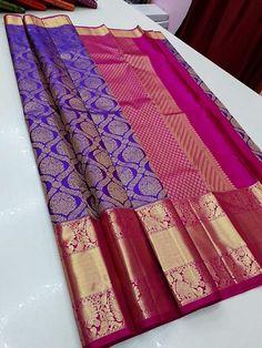 Kanjivaram Sarees Silk, Blue Silk Saree, Mysore Silk Saree, Pink Saree, Cotton Saree Designs, Wedding Saree Blouse Designs, Silk Saree Blouse Designs, Bridal Sarees South Indian, Wedding Silk Saree