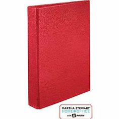 "Amazon.com: Martha Stewart Home OfficeTM With AveryTM Premium Shagreen Small-Format Binder, 1"" Gap-Free Rings, 5 1/2 x 8 1/2 (Red): Office Products"