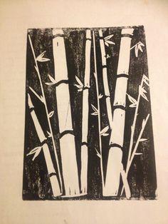Block print, bamboo, black