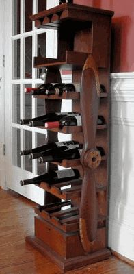 A wine rack perfect for old airplane lovers.