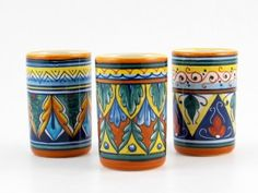 <p>These+beautiful+ceramic+glasses+have+been+hand+painted+in+Italy+for+our+collection+by+Eugenio+Ricciarelli,+a+ceramic+artist+whose+gifted+hand+gives+life+to+some+of+the+most+beautiful+geometric+patterns+in+Deruta.+A+natural+talent+nurtured+by+the+most+Deruta's+skilled+masters,+Eugenio+worked+for+many+years+at+the+famous+Franco+Mari's+majolica+factory.+Today+he+owns+his+small+snug+workshop,+established+15+years+ago,+where,+with+the+help+oh+his+sister+in+law+and+his+niece,+he+pai...