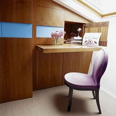 Furniture, Captivating And Awesome Wooden Murphy Desk Design Ideas With Classic Purple Chair And Pink Flowers On The Table: Unique Murphy Desk Design for Neat Room Ideas
